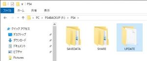 セーブデータをバックアップした時点で自動的に「PS4」というフォルダが作られていますので、その中に『UPDATE』というフォルダを作ります。