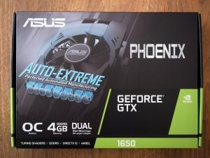 ASUSの「PH-GTX1650-O4G」という製品。箱の正面です。