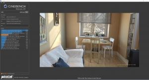「CINEBENCH 20」の画面。スタートすると少しずつ右の画像が描画されていきますが、原理は不明。