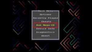 起動後にCボタンを押してメニュー呼び出し、その後「Run Mega-CD」を選択するとBIOS吸い出し完了。