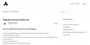Analogue公式のMega Sgファームウェアのページ。ファイルは下の方にあります。古いバージョンも置いてあるので、一番数字の大きいファイルをダウンロードしましょう。